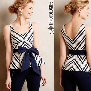 ANTHROPOLOGIE Mitered stripe sleeveless blouse